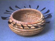 Early 20th C. Coiled Pomo Feather Basket