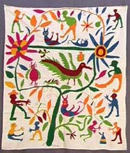 Mid-20th C. Huichol Indian Shaman Ritual Embroidered Cloth