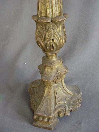 Early Wooden Carved Gold Gilt Pricket Stick