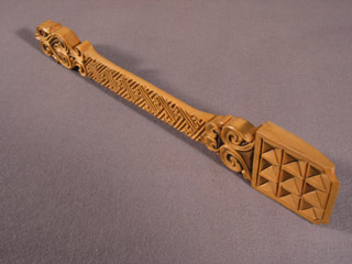 Mongolian Carved Wood Ceremonial Milk Offering Spoon