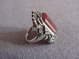 Art Deco Unger Brothers Sterling Marcasite Carnelian Ring Art Deco Unger Brothers Sterling Marcasite Carnelian Ring
