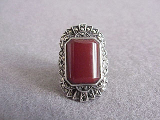 Art Deco Unger Brothers Sterling Marcasite Carnelian Ring