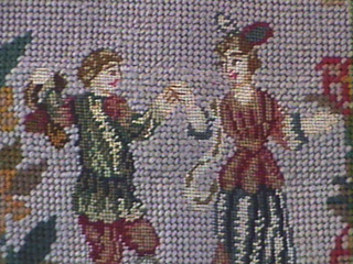 Mid-19th Century Louis XIV Style Flemish Petit point Needlepoint Chairback Cover